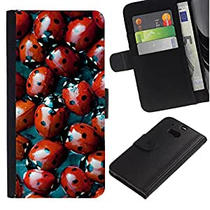EuroTech - HTC One M8 - Ladybug Red Bug Spots Pattern Nature - Cuero PU Delgado caso Billetera cubierta Shell Armor Funda Case Cover Wallet Credit Card