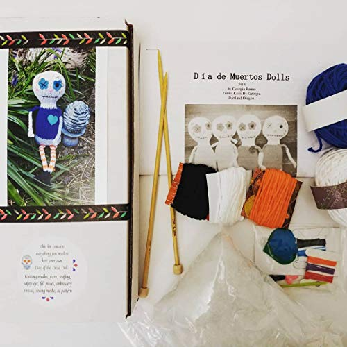 Knit your own Day of the Dead doll Kit DIY with pattern and knitting needles, yarn, felt, eyes, etc! Great different knitter gift, choose Rosa or Salvador