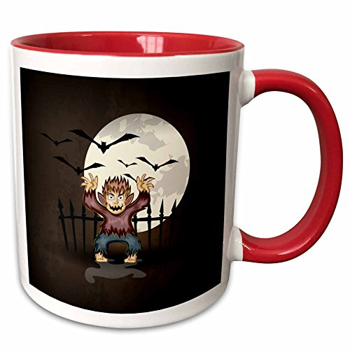 3dRose Dooni Designs Halloween Designs - Spooky Scary Werewolf Monster Spooking In Front Of Full Moon With Bats Halloween Illustration - 15oz Two-Tone Red Mug (mug_150037_10)]()