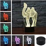 Camel Creative Creature 3D Acrylic Visual Home Touch Table Lamp Colorful Art Decor USB LED Children's Desk Night Light 3D-TD126