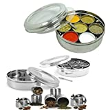 King International Stainless Steel Spice Box With Glass Cover And Lid And Stainless Steel Double See Thru Spice Box Mashala Dabba