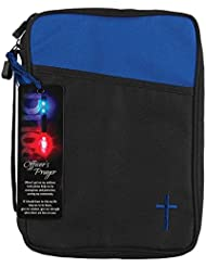 Police Officers Prayer Blue and Black Canvas Bible Cover Case with Handle Large