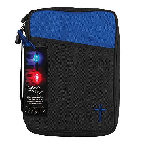 Police Officer's Prayer Blue and Black Canvas Bible Cover Case with Handle, Large