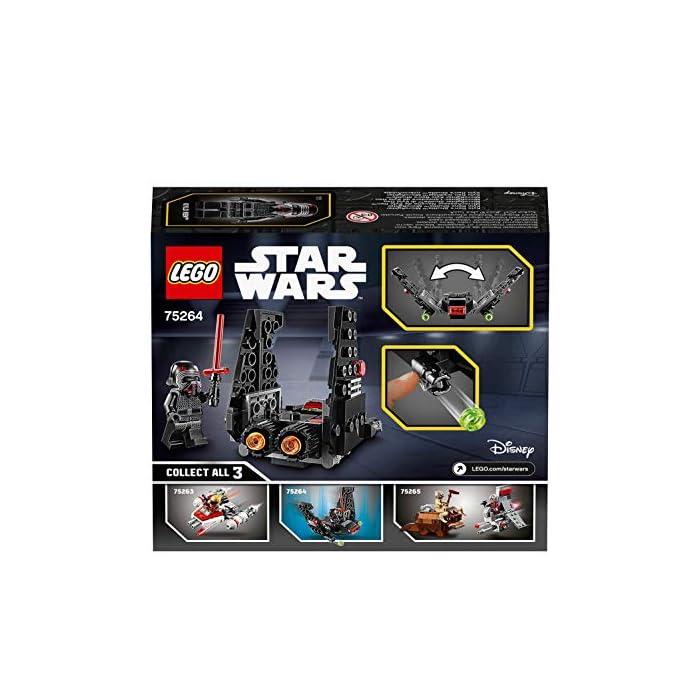 51HoRvIK0hL Los recién llegados al mundo de los juguetes de construcción LEGO Star Wars podrán interpretar el papel de un emblemático villano con el modelo LEGO Microfighter: Lanzadera de Kylo Ren (75264), una versión de construcción rápida equipada con cañones que disparan de la que se vio por primera vez en Star Wars: El Despertar de la Fuerza. A los peques les encantará meterse en la piel del malo: pilotar la lanzadera, ajustar las alas para activar los modos de vuelo o aterrizaje, ¡y atacar a la Resistencia con 2 cañones que disparan y la espada láser de la minifigura de Kylo Ren! Kylo Ren cuenta con un flamante casco (novedad en enero de 2020), decorado como si estuviera agrietado, y su propia espada láser; además, se incluyen montones de ladrillos LEGO que animarán a los peques a usar su creatividad para construir algo diferente con otros sets LEGO Star Wars.