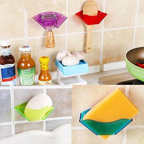 NPLE--1PC Sink Chic Suction Cups Holder Double Storage Rack Soap Random Color Sponge by NPLE