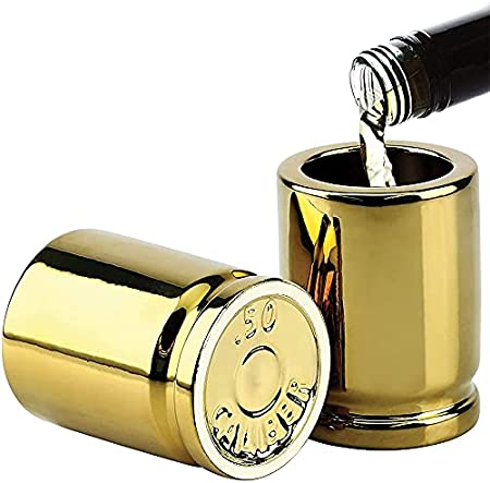 YOPU 2 unids bala en forma de vasos de cerveza de acero inoxidable de 2 oz de oro de tiro de vino Set tazas de whisky para la decoración de la fiesta de la barra