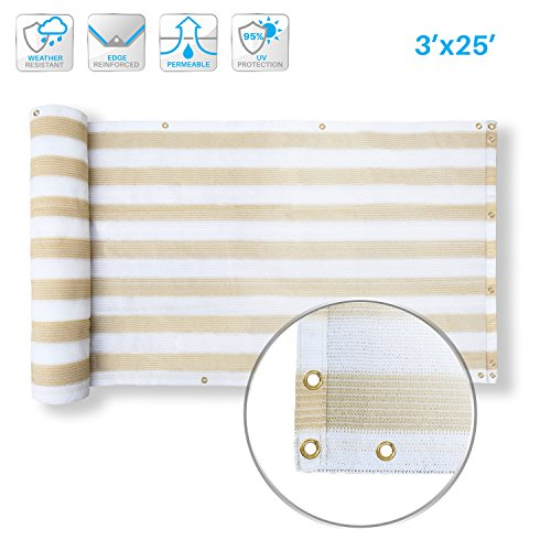 Patio Deck Privacy Screen 3' x 25' Perfect for Outdoor,Backyard, Balcony,Pool,Porch,Railiing,Gardening,Fence Shield Rails Protection Beige and White-Custom (Deck Privacy For Planters)