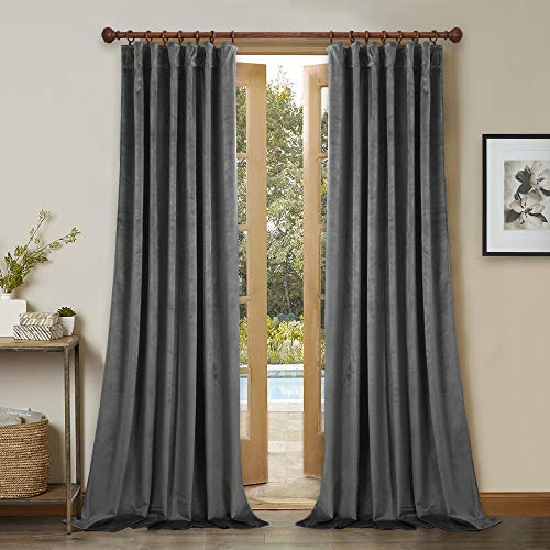 StangH Gray Velvet Curtain Set of 2 Panel 84 Inches Long Blackout Velvet Drapes with Back Tab & Rod Pocket for Bedroom/Study Room, W52 x L84 Each Panel