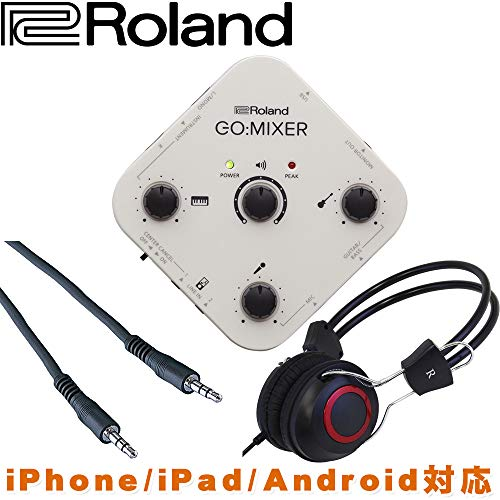 [해외]Roland 스마트폰iPad 용 믹서 GO: MIXER 헤드폰 및 스테레오 미니 케이블 세트 / Mixer GO:MIXER headphones & stereo mini cable set for Roland smartphone and iPad