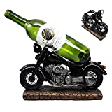 "Atlantic Collectibles Vintage Black Chopper Motorcycle Bike Wine Holder Figurine 12.25""L"