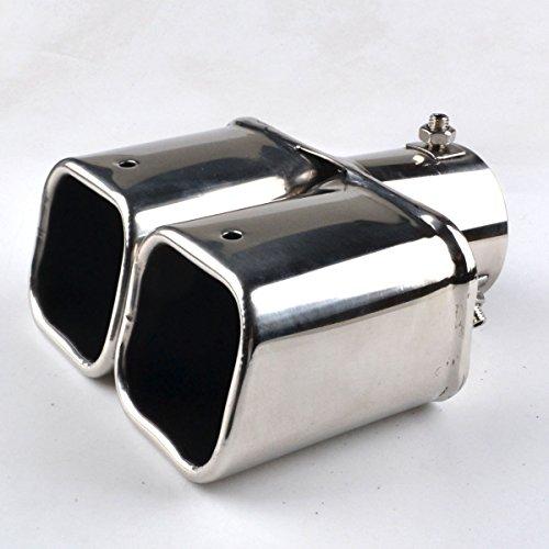 RunQiao 2 x Chrome Stainless Steel Exhaust Muffler Exhaust Tailpipe Tip Pipe Black