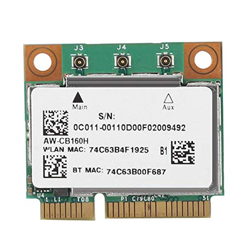 ASHATA Mini PCIE Network Card for Broadcom BCM94360HMB Azurewave AW-CB160H 1300Mbps 802.11ac,Bluetooth 4.0 Dual-Band 2.4/5.8G Wireless Network Card for Gigabyte B85N Phoneix