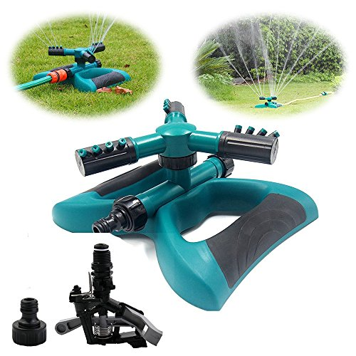 LUXJET Lawn Sprinkler 360° Automatic Rotating Garden Water Sprinklers Irrigation System with 2 Heads for Outdoor Yard Watering