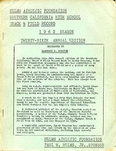 Track Foundation - 1962 Helms Athletic Foundation Southern California HS Track Field Records Ex Con