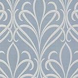 Decorline 482-Dl31067 Lalique Blue Nouveau Damask Wallpaper, Blue