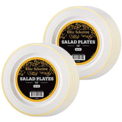 Elite Selection Pack Of 100 Salad / Dessert Disposable Party Plastic Plates Ivory Color With Gold Rim 7.5 Inch