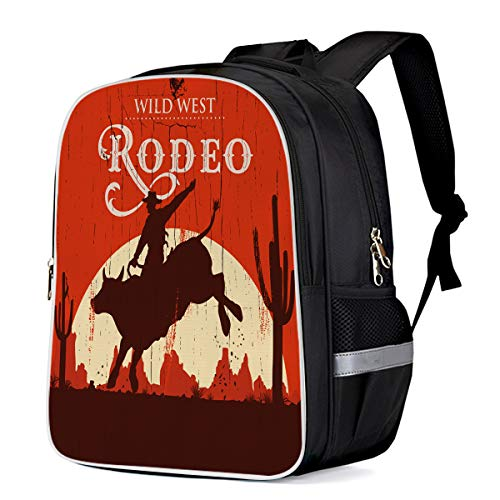 Fashion Elementary Student School Bags- Wild West Rodeo Cowboy - Durable School Backpacks Outdoor Daypack Travel Packback for Kids Boys Girls