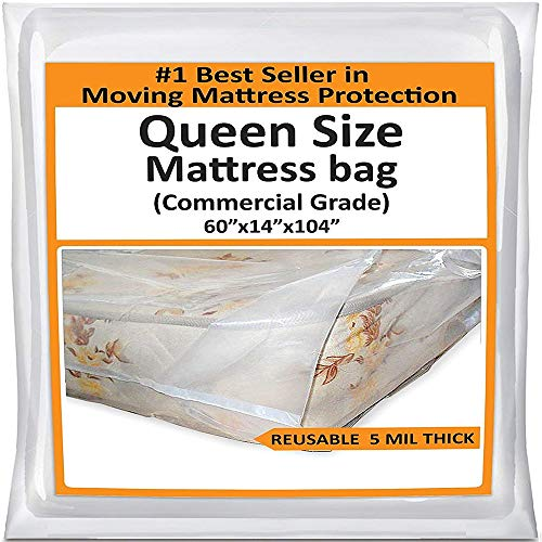 Mattress Bags for Moving Queen -Mattress Storage Bag - 5 Mil Heavy-Duty - Thick Plastic Bed Mattress Cover Protector for Moving Queen - Reusable Bed Moving Supplies (Best Way To Wrap Chairs For Moving)