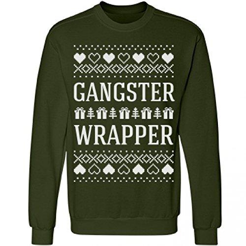 Gangster Wrapper Ugly Sweater: Unisex Anvil Crewneck Sweatshirt (Gangster Outfits For Men)