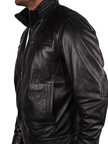 Motociclista Vera Uomo Pelle Designer Nero Coat Brandslock Giacca dqtxwnE