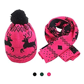 Christmas Girl Kids Winter Cable Knit Pom Beanie Hat Scarf Set by MissShorthair F183C-02