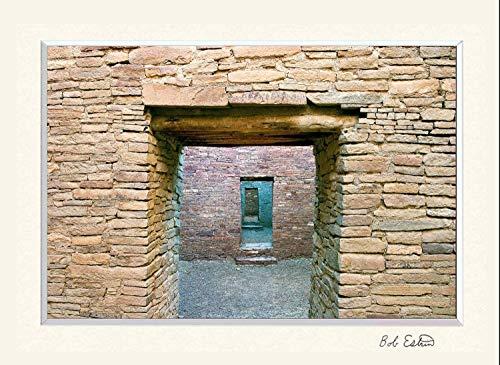 11 x 14 inch mat including photograph of ancient stone walls and doors at the Pueblo Bonito Ruin at Chaco Canyon, NM