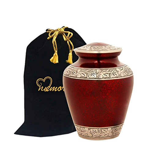 - Elite Crimson Cloud and Silver Cremation Urn - Large Crimson Funeral Urn with Free Bag - Handcrafted Adult Crimson Urn for Human Ashes - New ~ Good Deal