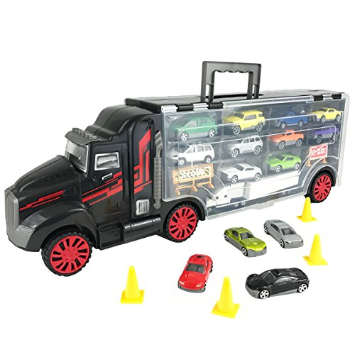 Boley-Truck-Carrier-Toy-Big-Rig-Hauler-Truck-with-14-die-cast-cars-and-28-slots-for-car-toys-great-toy-for-a-boys