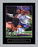 Challenge - Soccer Framed Art Print Wall Picture, Flat Silver Frame, 26 x 32 inches