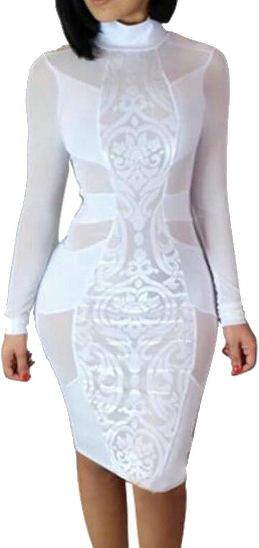 WANSHIYISHE-Women Long Sleeve See Through Mesh Party Clubwear Bodycon Dress