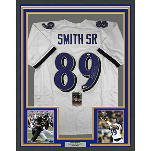 (Framed Autographed Signed Memorabilia Steve Smith Sr 33X42 Baltimore White Jersey - JSA Authentic)