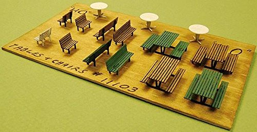 GC Laser HO Scale Sets of TABLES BENCHES New Item 11103 CHAIRS