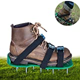 SiGuTie Lawn Aerator Shoes, Spiked Lawn Aerating Sandals Heavy Duty Garden Tool with Metal Buckles and 3 Adjustable Straps Universal Size for Aerating Garden or Yard, Extra Wrench and Instructions