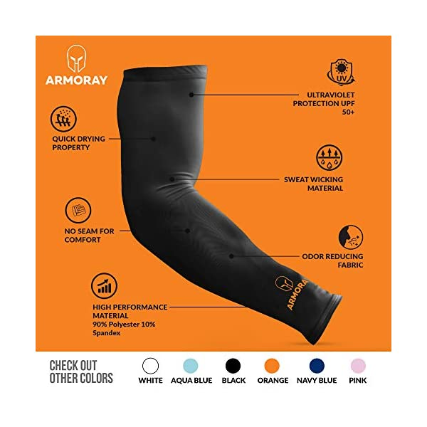 ARMORAY Arm Sleeves for Men or Women ... Compression Warmers to Cover Tattoo