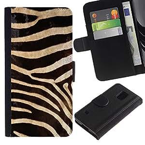 Paccase / Billetera de Cuero Caso del tirón Titular de la tarjeta Carcasa Funda para - Black White Zebra Pattern - Samsung Galaxy S5 V SM-G900