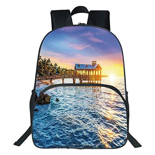 Oobon Kids Toddler School Waterproof 3D Cartoon Backpack, Pier at Beach in Key West Florida USA Tropical Summer Paradise, Fits 14 Inch ()