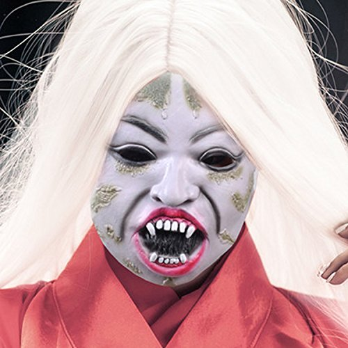 [Creepy White Hair Witch Mask Halloween Men and Women Dreadful Latex Ventilation Mask Masquerade Bar Party Carnival Mask Teenage toys (white hair rotten face)] (Just One Bite Female Costumes)