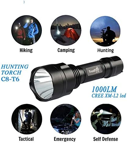 Original c8T6 Hunting Torch with XM-L2 led,Tactical/Camping/Hiking/Emergency Lighting 5-Mode Memory 1000LM