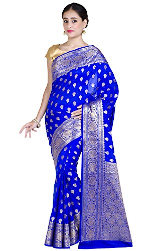 Chandrakala Women's Royal Blue Kataan Silk Blend Banarasi Saree,Free Size(1250ROY) ()