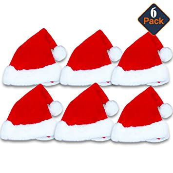 c8e720c6cfe86 Christmas Santa Hats Ultimate Set -- Pack of 6 Deluxe Plush Red and White  Holiday