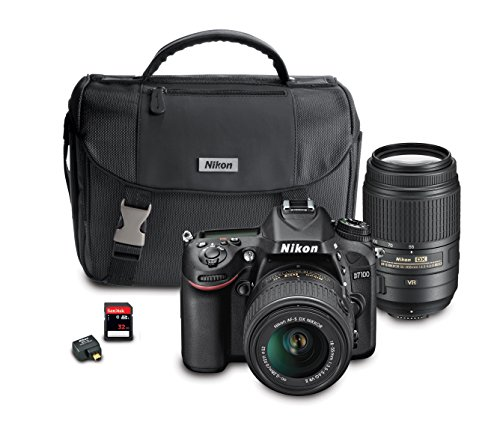 Nikon D7100 DX-Format Digital SLR Camera Bundle with 18-55mm and 55-300mm VR NIKKOR Zoom Lenses For Sale