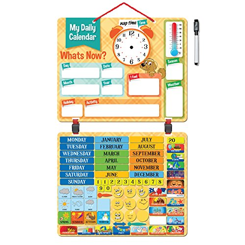 "2018 Kids Daily Calendar with ""134 Learning Magnets"" Hang on Wall or Fridge. Fun Educational Activity for Home or School. Weather, Time, Season, Activities, Emotions - Magnetic Learning Board"
