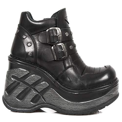 New Negro Zapatos Cuero Mujer Piel Punk Gotico s1 M Heavy Cuña sp9814 Chica Rock Tx8rpT