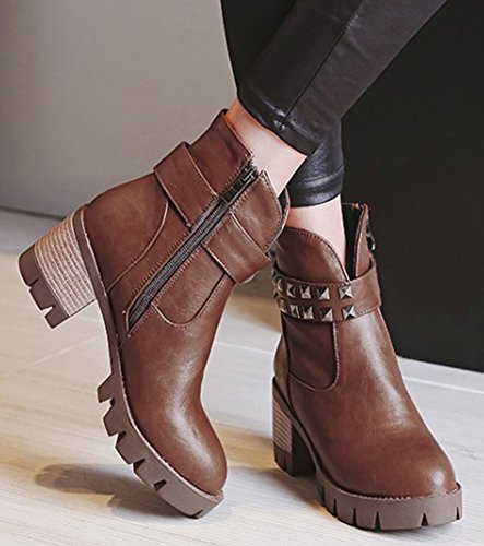 Chunky Vintage Booties IDIFU Heels Women's Boots Mid Ankle Platform Zipper Side Studded Brown Short xqpTX7p5