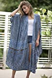 Dusty Blue Plus Size Kimono, Bohemian Holiday Kimono Robe, Wrap Long Tribal Stylish Robe, Oversized Long Kimono, Women Festival Wear
