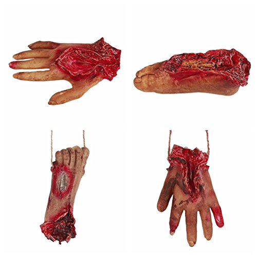 Balai Halloween Scary Decorations Fake Dead Bloody Body Parts Props -Fake Human Severed Foot Hand & Fingers Halloween Trick or Treat Party Prop Decoration Haunted House Halloween Decorations(4 Pcs)