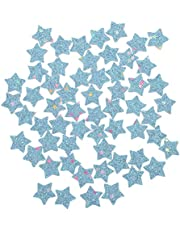 ULTNICE Sequins Star Patch Applique 50pcs Mini Star Iron- on Badge Embroidered Patch Clothes DIY Accessory for Valentines Day Wedding Party Clothes Dress Jackets Hats