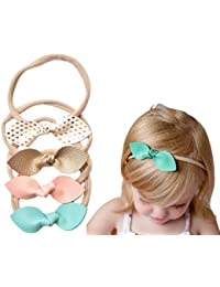 Rabbit Ears Faux Leather Bow–Stretch Headbands for Baby...