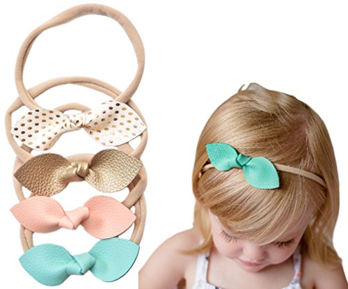 Gold Turquoise Coral - California Tot Rabbit Ears Faux Leather Bow - Soft & Stretchy Headband for Baby, Toddler, Girls, Set of 4 (Sweet Candy)