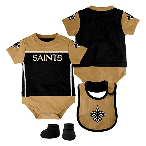 NFL New Orleans Saints Creeper/Bib and Bootie Set, Youth 12 Months, Black
